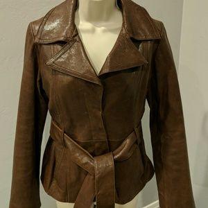 Andrew Marc 100% genuine leather brown tie jacket